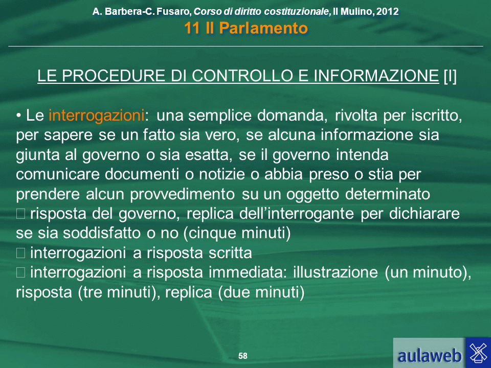 LE PROCEDURE DI CONTROLLO E INFORMAZIONE [I]